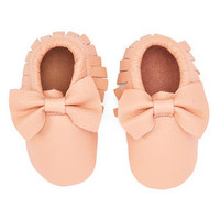 Light Pink Leather Bow Baby Moccasins