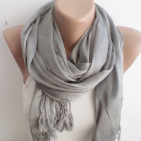Spring Scarf, Women scarf, cotton scarf, Grey Scarf, scarves, Womens Scarves, thin scarf