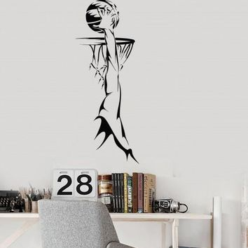 Vinyl Wall Decal Basketball Player Ring Sports Fan Boy Room Mural Unique Gift (ig2818)