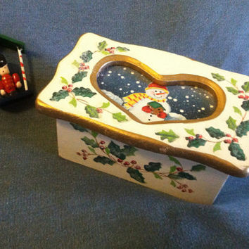 Wood Christmas Jewelry Box With Cutout Heart and Snowman in Winter Scene Hand Painted Holiday Trinket Ring Container Hand Made Decoration