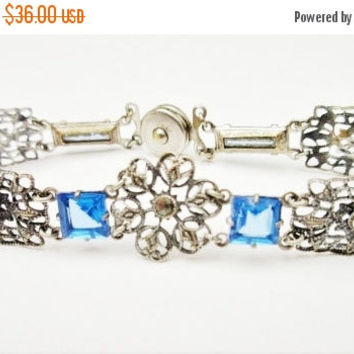 Blue Glass Link Bracelet with  snap clasp Marcasite silver plated  filigree panels