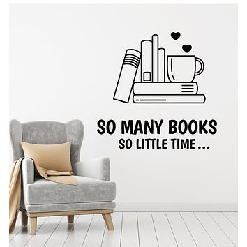 Vinyl Wall Decal Quote Books Love Mug Reading Room Stickers Mural (g678)