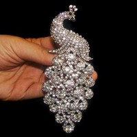 "5"" Bridal Peacock Peafowl Brooch Pin Rhinestone Crystal"