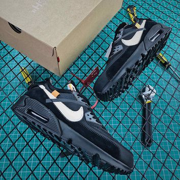Off White X Nike Air Max 90 Black White Sport Running Shoes - Best Online Sale
