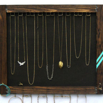 Jewelry Storage // Necklace Display Organizer // Wall Hanging Jewelry Storage // Turquoise Chevron // Eco-Friendly Reclaimed Wood // Gift