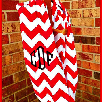 Personalized Red and White Super Soft Jersey Knit Chevron Zig Zag infinity scarf -- Modern loop circle cowl