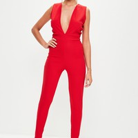 Missguided - Red Plunge Front Unitard Jumpsuit