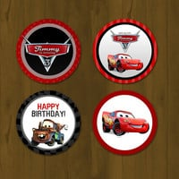 Disney CARS Lightning Mc Queen Cupcake toppers - Cars Party Circles Free Cupcake Wrapper