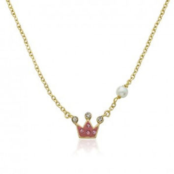 Pretty Princess Pink Crystal Crown Chain Necklace.