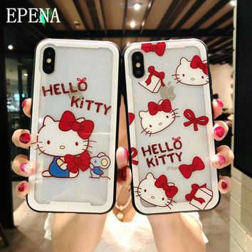 Cartoon Princess Mermaid Hello Kitty Case For iphone 8 7 Plus 6 6S Plus Phone Toughened glass cover case For iphone X XR XS Max