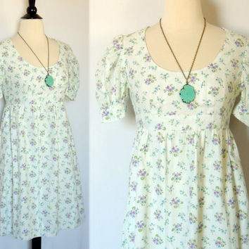 SALE TODAY ONLY Vintage 60 70s Floral Dress Empire by BoWinston