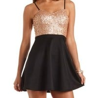 Sequin Bust Skater Dress by Charlotte Russe - Black Combo