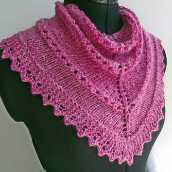 Pink Scarf, Pink Cowl,  Pink Neck Warmer, Infinity Scarf, Pink Buff, Handspun Dyed Lacy Neckwarmer, Knitted Wool Pink Neckwarmer