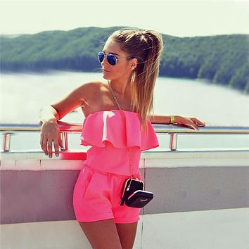 2017 Summer New Women's Fashion Ruffles Slim Rompers Sexy Off Shoulder Strapless Slash Neck Jumpsuits