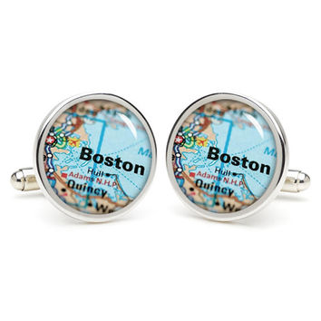 Boston  map cufflinks , wedding gift ideas for groom,gift for dad,great gift ideas for men,groomsmen cufflinks,silver cufflinks,Map