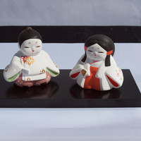 Miniature Japanese Porcelain Geisha Girls on Wood Base