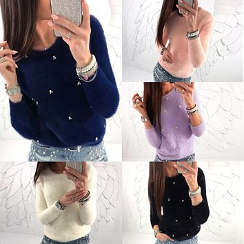 Scoop Beadings Long Sleeves Regular T-shirt
