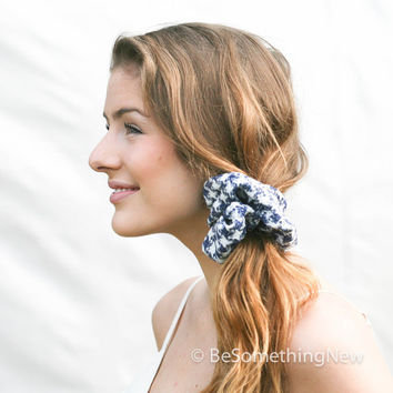 Oversize Scrunchie in Blue and White, Scrunchie Hair Accessories, Nautical Hair Scrunchies, Women Hair Accessories, Retro Accessory