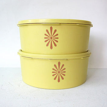 Vintage Harvest yellow retro tupperware containers / 2 piece canisters set