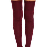 Ribbed Thigh High Socks in Burgundy