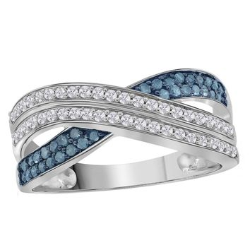 Sterling Silver Womens Round Blue Color Enhanced Diamond Crossover Band Ring 3/8 Cttw