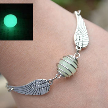 Luminous Bracelet,Golden snitch bracelet,Flying snitch ball Bracelet with sided wings,Spinning ball Chram Bracelet,wire wrapped jewelry