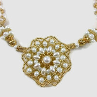 Gold and Pearl Beaded Necklace