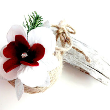 Beautiful Handmade Jute Twine Rustic Christmas Ornament with Red Velvet Flower, Country Christmas Decor,  #152