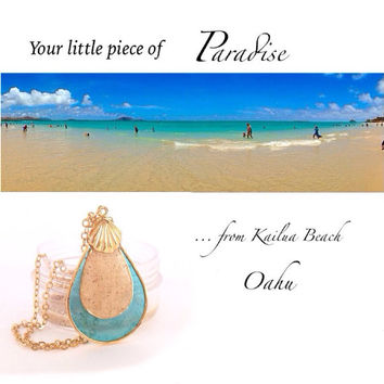 BEACH Jewelry, hawaiian jewelry, real sand from kailua beach, turquoise pendant, hawaiian necklace, shell pendant