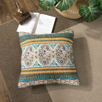 """DaDa Bedding Set of Two Green Tea Dreams Bohemian Paisley Patchwork Cushion Covers - 18"""" - 2-PCS (JHW820)"""