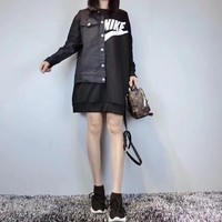 """""""Nike"""" Women Casual Personality Stitching Letter Middle Long Section Long Sleeve Sweater Mini Dress"""