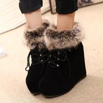 On Sale Hot Deal Wedge Shoes Winter Cotton Flat Wool Boots [79793029145]