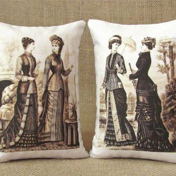 Victorian Women Bookends Shelf Pillows by TwoStrayCats on Etsy