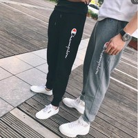 """Champion"" Unisex Casual Letter Print Camouflage Pocket Sweatpants Couple Thickened Leisure Pants Trousers"