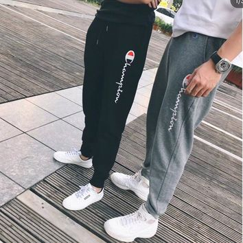 """""""Champion"""" Unisex Casual Letter Print Camouflage Pocket Sweatpants Couple Thickened Leisure Pants Trousers"""