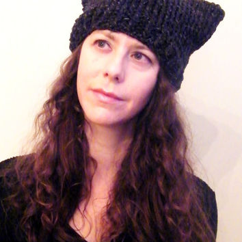 The Minx Hand Knit Cat Beanie Hat- Wool Cotton- Womens Knit Hat- Knitted Cat Ears Hat- Animal Ear Hat - Charcoal Dark Grey  // Ready To Ship