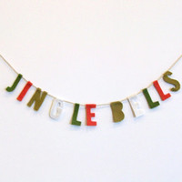 Jingle Bells felt party banner in green, red and white, Christmas banner