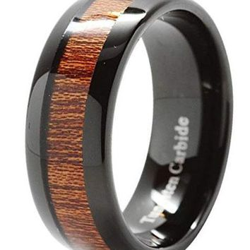CERTIFIED 8mm Tungsten Carbide Wood Inlay Black Plated Comfort Fit Wedding Band