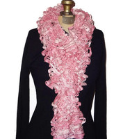 Ruffle Scarf Light Pink Handmade Knitted
