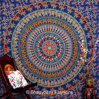 Elephant Camel ethenic Mandala Tapestries, Indian Hippie Tapestry Wall Hanging, Indian Bedspread, Bohemian Tapestry, Mandala Dorm Decor