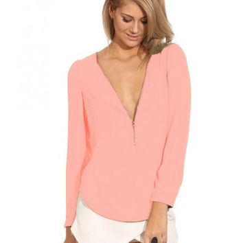 Pink Long Sleeve Zip Up V-Neck Top