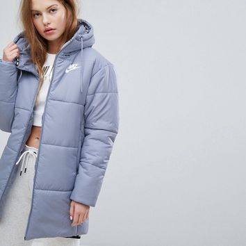 Nike Long Padded Jacket With Branded Waistband at asos.com