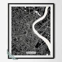 Bordeaux Street Map Print, France Poster, Bordeaux Poster, France Print, Southwestern France, Home Wall Art, Wall Decor, Back To School