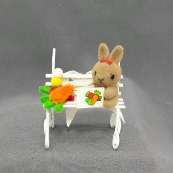 Vintage Miniature Flocked Rabbit on Bench, Chenille Wire Vegetables, Tiny Bunny, Vintage Easter Decor, Kitschy