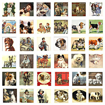 dogs puppies 1 inch squares collage sheet printable clip art digital download vintage dog puppy images pendants magnets key chains jewelry