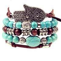 Artilady New Hamsa Hand ~ 5pcs Set Leather Bracelets