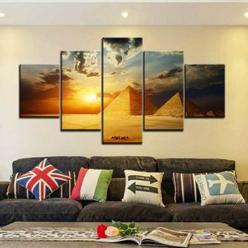 Unframed 5 Pcs Sunset, Egyptian Pyramids.Art Pictures HD Modern Home Wall Decor Canvas Print Oil Painting.