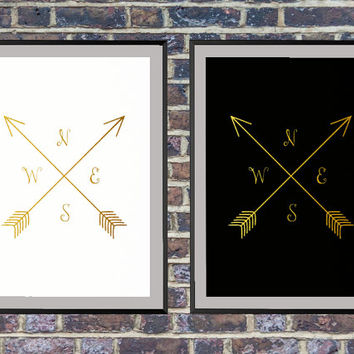 Set of 2 prints for the price of one Gold Arrows and Compass Print, Black and White Wall Art, Gold Arrow, Compass Print, Arrow Art *141*