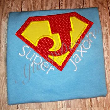Super Hero applique shirt Any letter and name by AfterNineDesigns