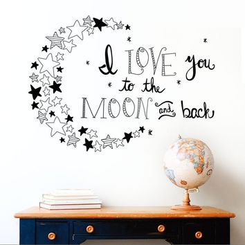 3 Colors I Love You To The Moon and Back Again Quotes Wall Decals Decorative Stickers Girls Room Removable Vinyl Posters